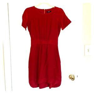 Madewell Sz 0 red silk dress pockets